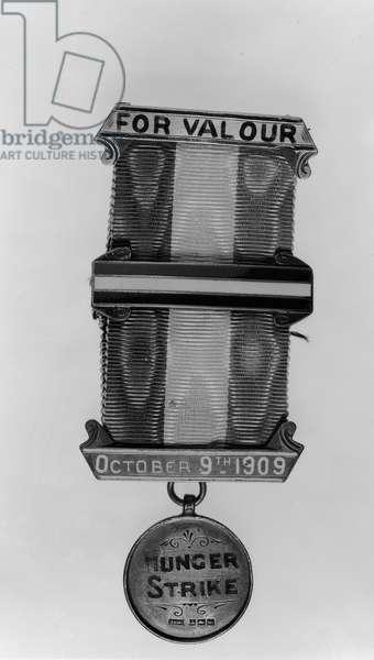 'Hunger Strike' badge, 9th October 1909 (metal) (b/w photo)