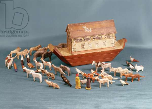 Noah's Ark complete with 100 wooden figures, c.1860 (painted wood)