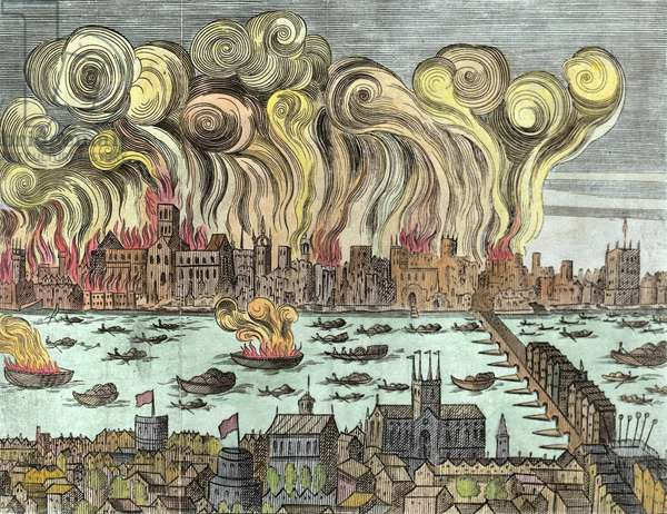 The Great Fire of London 1666 (woodcut) (later colouration)