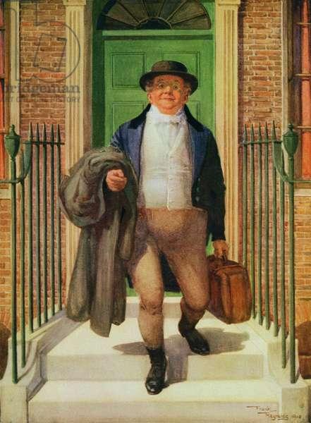 Mr Pickwick Leaving Home, 1910 (colour litho)
