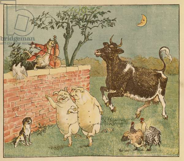 The Cat and the Fiddle and the Cow - Illustrations from Hey Diddle Diddle