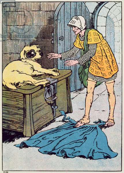 'There's a good dog!' quoth the Soldier (colour litho)