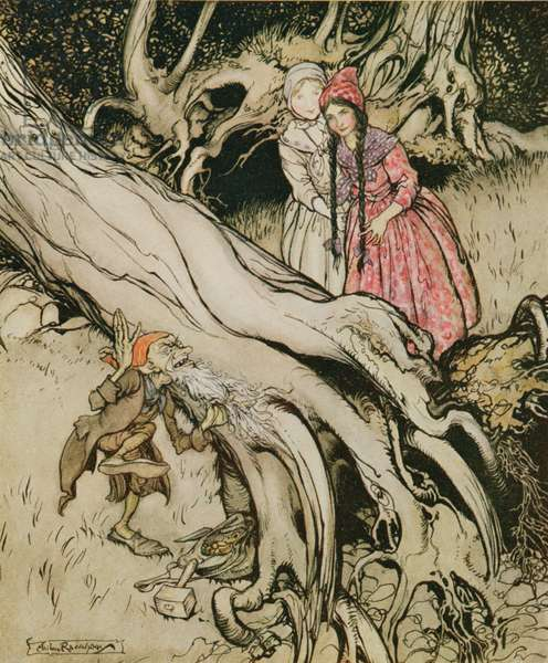 The end of his beard was caught in a tree, illustration from 'Snow White and Rose Red', from Fairy Tales of the Brothers Grimm, 1900 (colour litho)