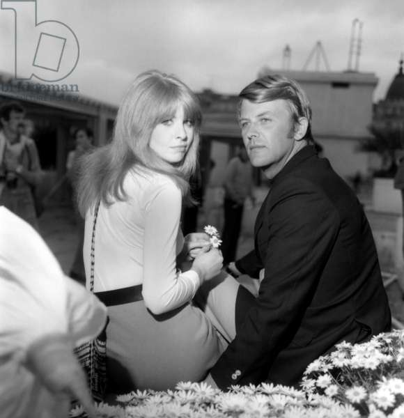 Jane Asher and Sven-Bertin Taube at the Cannes Film Festival, 1970 (b/w photo)