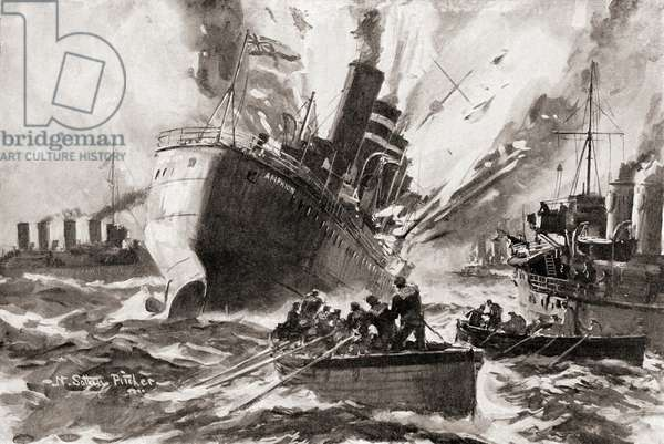 The blowing up of H.M.S, Amphion by a German mine during World War One, from The History of the Great War, pub.c. 1919