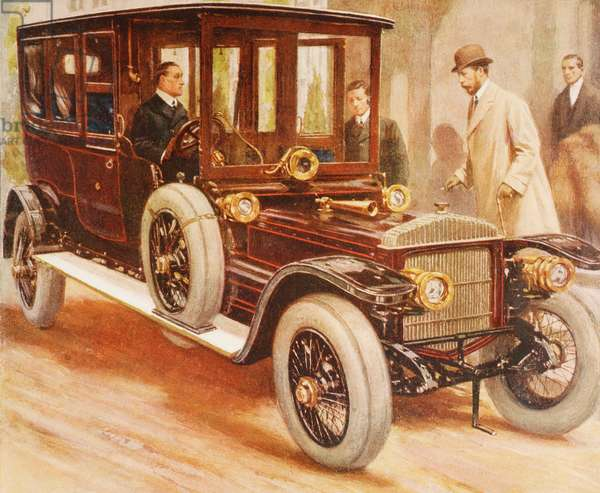 King George V entering his Daimler car, from 'The Illustrated London News', 1910 (colour litho)