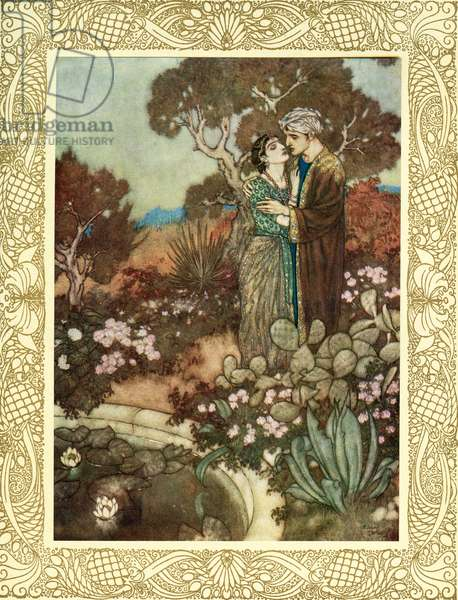 Do you, within your little hour of Grace, The waving Cypress in your Arms enlace, Before the Mother back into her arms Fold, and dissolve you in a last embrace, illustration from 'The Rubaiyat of Omar Khayyam', published 1909 (colour litho)