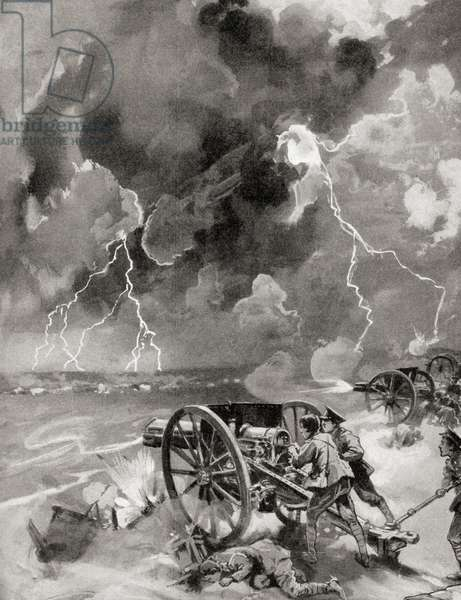 British soldiers fighting in a thunderstorm at The First Battle of the Marne, France during WWI (litho)