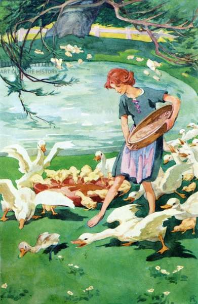 The Ugly Duckling.  Colour illustration by Helen Stratton from the book Hans Andersen's Fairy Tales published c.1930.