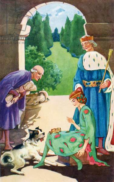 The Frog jumps into the Princess's Lap.  Colour illustration by Helen Stratton from the story The Leaping Match.   book Hans Andersen's Fairy Tales published c.1930.