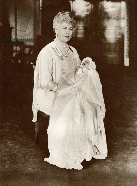 Mary of Teck, 1867 – 1953. Queen consort of the United Kingdom and the British Dominions, and Empress of India, as the wife of King-Emperor George V. Seen here in 1926 holding her grandaughter Princess Elizabeth.  From The Story of 25 Eventful Years in Pictures published 1935