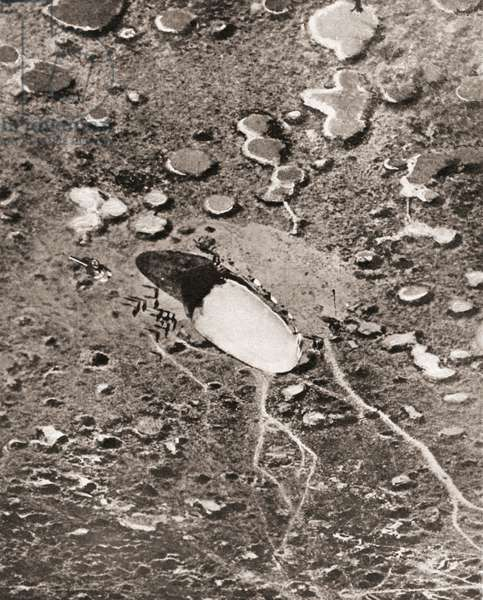 Aerial view of the capture of a war balloon on the western front during World War One, from The Pageant of the Century, pub.1934