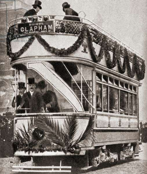 The Prince of Wales inaugurates the electric tramway to Tooting, London in 190, From The Pageant of the Century, pub. 1934