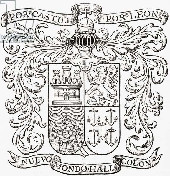 Coat of Arms of Christopher Columbus.  Christopher Columbus, c. 1451 to 1506.  Genovese navigator, colonizer, and explorer.  From the book Life of Christopher Columbus by Clements R. Markham published 1892.