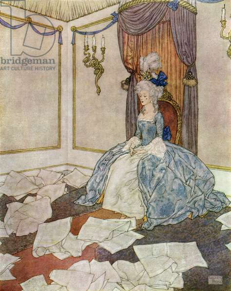 She has read all the newspapers in the world, and forgotten them again, so clever is she, frontispiece from 'The Snow Queen', 1938 (colour litho)