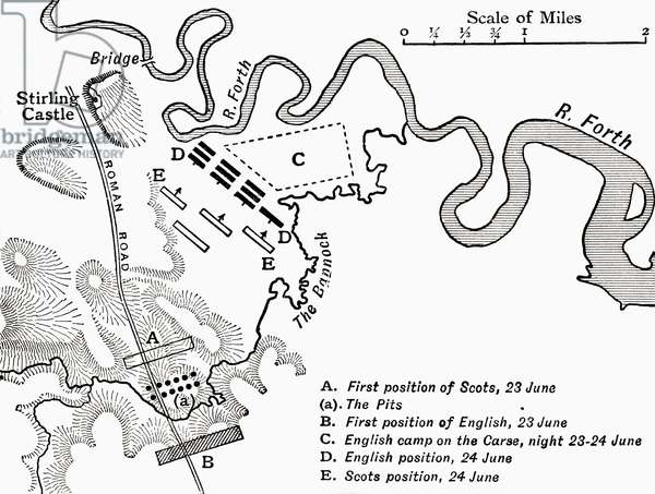 Map showing the Battle of Bannockburn in 1314, from 'A First Book of British History', published 1925 (litho)