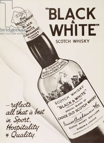 Advertisement for Black and White Scotch Whisky.  From The London Illustrated News, Christmas Number, 1933.