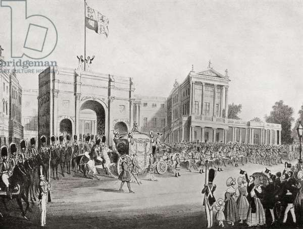 Coronation procession of Queen Victoria in 1838, leaving Buckingham Palace through the Marble Arch (litho)