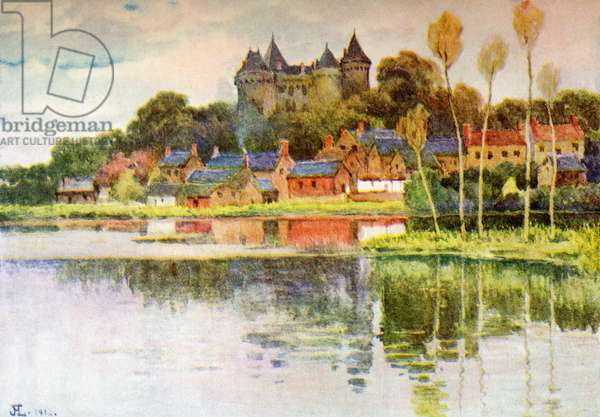 Combourg, Brittany, France, a Typical Chateau of the Mediaeval Type, Childhood Home of François-René de Chateaubriand, illustration from the book 'France' by Gordon Home, published 1918 (colour litho)
