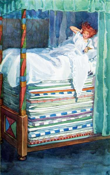 The Princess and the Pea.  Colour illustration by Helen Stratton from the book Hans Andersen's Fairy Tales published c.1930.