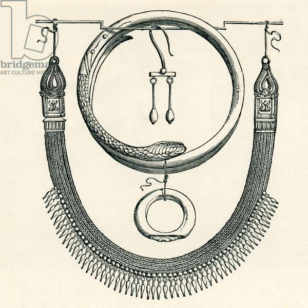 Necklace, ring, bracelet and earring from Pompeii, Italy.  From Italian Pictures by Rev. Samuel Manning, published c.1890.