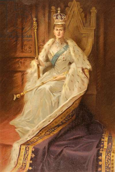 Queen Mary, consort of King George V, in the year of her coronation, 1910.  Mary of Teck, Victoria Mary Augusta Louise Olga Pauline Claudine Agnes, 1867 to 1953.  From The Illustrated London News, 1910.