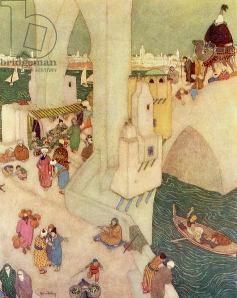In the city of Baghdad, illustration from 'Sinbad The Sailor', 1938 (colour litho)