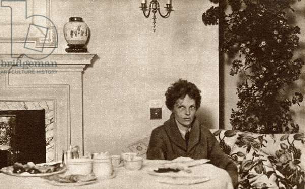 Amelia Mary Earhart , 1897 – disappeared 1937.  American aviation pioneer and author.  From The Story of 25 Eventful Years in Pictures published 1935
