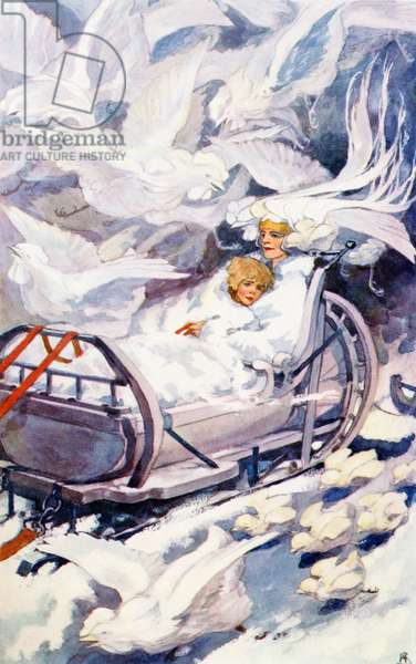 The Snow Queen.  Colour illustration by Helen Stratton from the book Hans Andersen's Fairy Tales published c.1930.