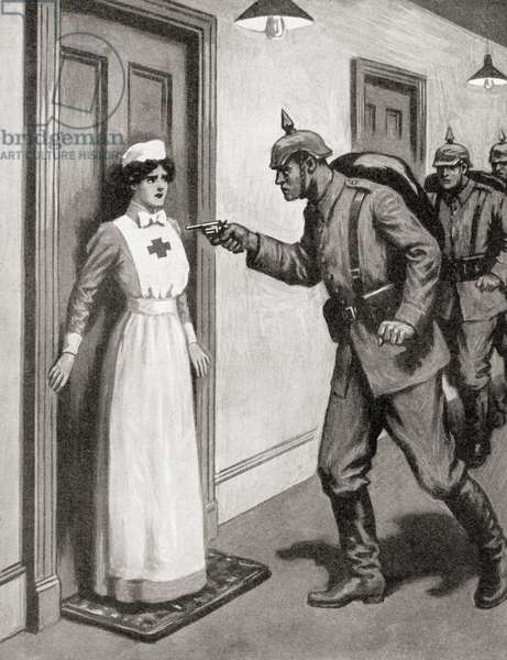 Brave Nurse Agassiz protecting her wounded British patients from the Germans during WWI (litho)