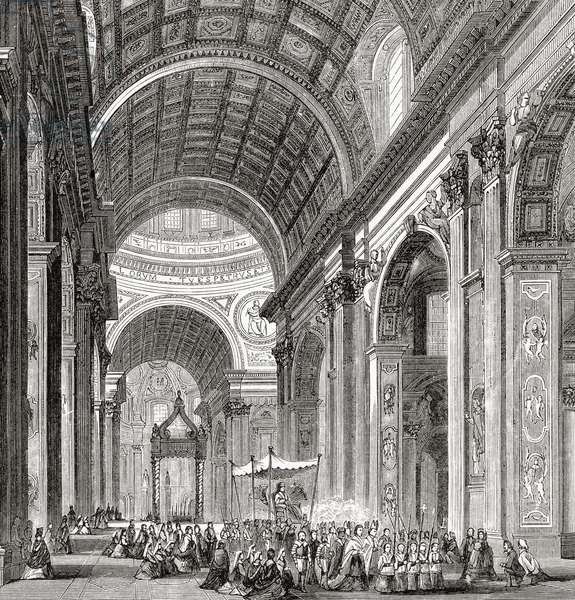 A procession inside Saint Peter's Basilica, Vatican City, Rome, Italy in the late 19th century.  From Italian Pictures by Rev. Samuel Manning, published c.1890.