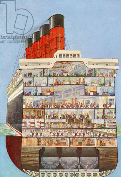 The Interior of the RMS Aquitania, from 'The Romance of the Merchant Ship', published 1931 (colour litho)