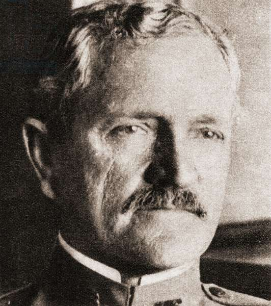 "John Joseph ""Black Jack"" Pershing,  1860 – 1948.   United States Army general who led the American Expeditionary Forces to victory over Germany in World War I.  From The Pageant of the Century, published 1934"