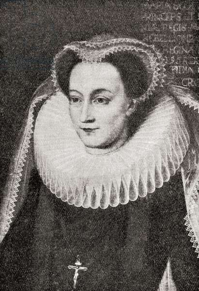 Mary, Queen of Scots, 1542 – 1587, aka Mary Stuart or Mary I of Scotland.  Queen regnant of Scotland and queen consort of France.  From A First Book of British History published 1925.
