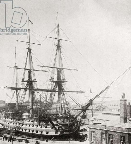 HMS Victory, Lord Nelson's flagship, in drydock at Portsmouth, England in 1922 (litho)