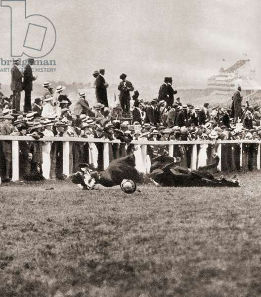 Emily Wilding Davison ,  1872 – 1913.  Militant women's suffrage activist who threw herself  under the King's horse Anmer, during the Epsom Derby of 1913.   From The Story of 25 Eventful Years in Pictures published 1935