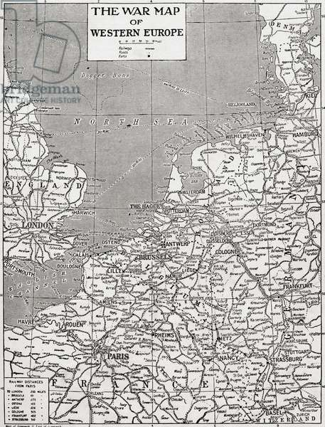 The War Map of Western Europe showing s the entire zone of military operations in the Western campaign (litho)
