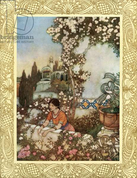 """Look to the blowing Rose about us - """"Lo, Laughing,"""" she says, """"into the world I blow: At once the silken tassel of my Purse Tear, and its Treasure on the Garden throw, illustration from 'The Rubaiyat of Omar Khayyam', published 1909 (colour litho)"""