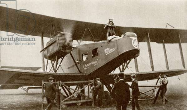The inauguration of the first regularly scheduled airline service between London and Paris by an Airco de Havilland DH.16 begins on August 25th, 1919, from 'The Story of 25 Eventful Years in Pictures', published 1935 (b/w photo)