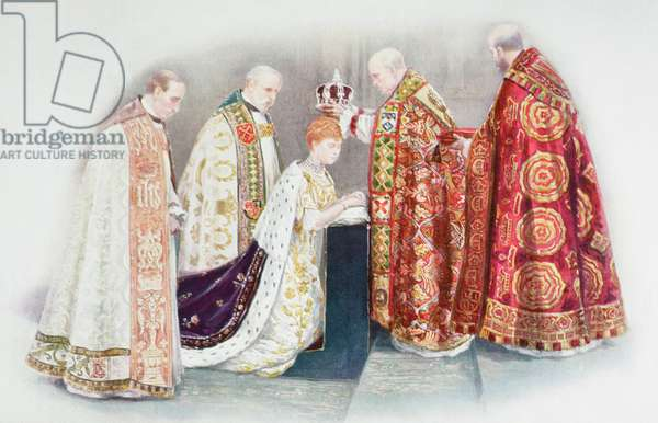The coronation of the Queen by the Archbishop of Canterbury and attended by the Bishop of Oxford, the Bishop of Peterborough and the Dean of Westminster.   Mary of Teck , Victoria Mary Augusta Louise Olga Pauline Claudine Agnes, 1867 to 1953.  Queen consort of the United Kingdom.  From The Queen The Lady's Newspaper published 1935.