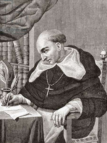 Bartolomé de Las Casas , 1484 to 1566.  Spanish Dominican Friar, historian, theologian, Bishop of chiapas, Mexico, philisopher, jurist and defensor of the Mexican Indians.  From the book Life of Christopher Columbus by Clements R. Markham published 1892.