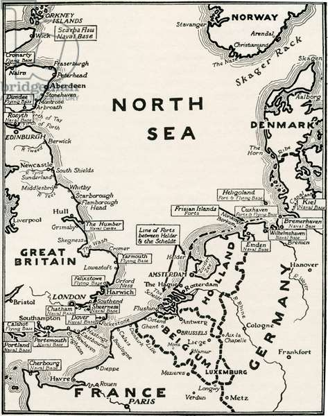 Map showing the naval bases of the North Sea during World War One, from The History of the Great War, pub.c.1919