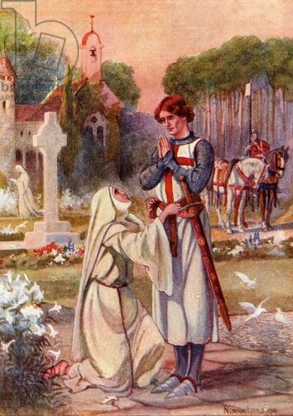 A nun binds the waist of Sir Galahad with a belt made of her hair and a device representing The Holy Grail in crimson and silver thread.  Coloured illustration from The Story of Sir Galahad from book The Gateway to Tennyson published 1910.
