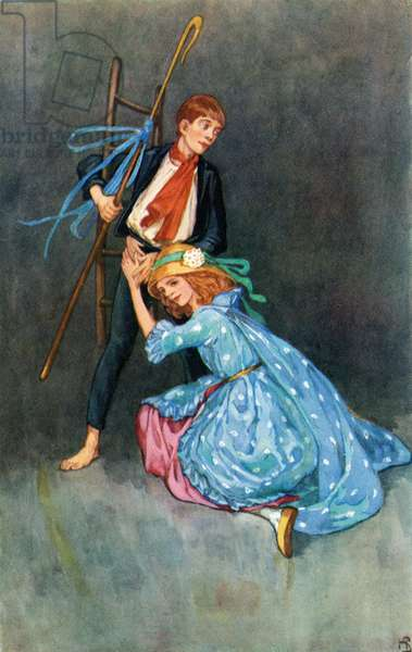 The Shepherdess and The Chimney Sweeper.  Colour illustration by Helen Stratton from the book Hans Andersen's Fairy Tales published c.1930.