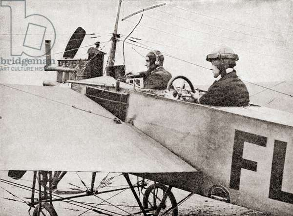 Wireless apparatus on an aeroplane during World War One, from The History of the Great War, pub.c. 1919