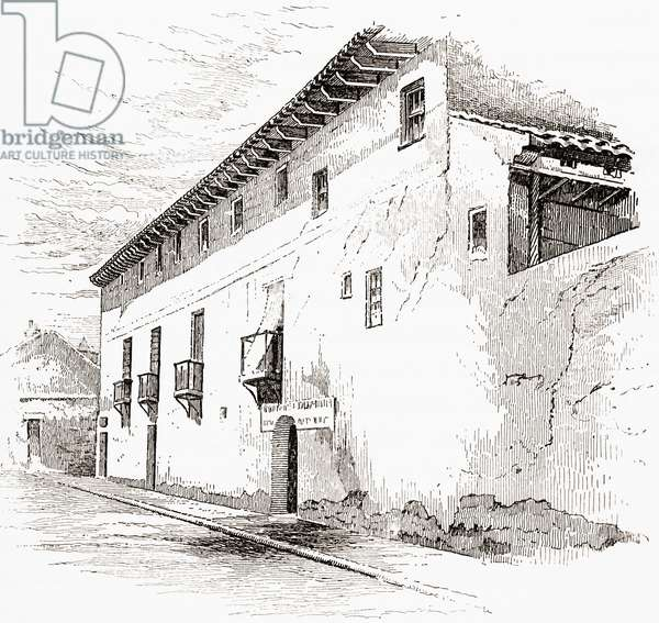 The house in Valladolid, Spain, in which Christopher Columbus died in 1506.  From the book Life of Christopher Columbus by Clements R. Markham published 1892.