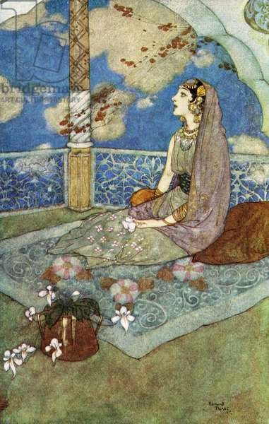 And ever with the tears falling down from her eyes she sighed and sang, illustration from 'The Story of The Magic Horse', 1938 (colour litho)