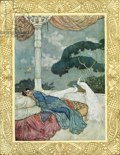 Heav'n but the Vision of fulfill'd Desire, And Hell the Shadow of a Soul on fire, Cast on the Darkness into which Ourselves, So late emerg'd from, shall so soon expire, ilustration from 'The Rubaiyat of Omar Khayyam', published 1909 (colour litho)