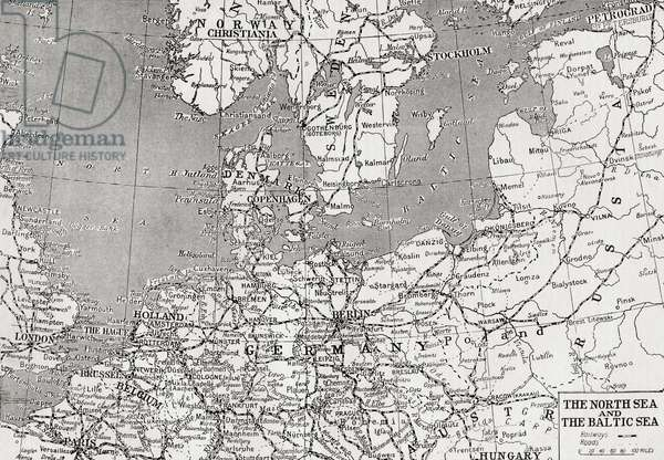 Map showing the North sea and the Baltic sea at the time of the first world war (litho)
