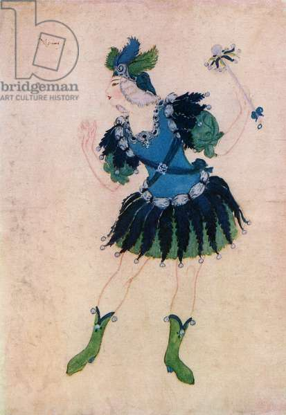 Design for the costume of Momus in the opera Phebus and Pan, Edmund Dulac from the book 'Princess Marie-José's Children's Book', published 1916 (colour litho)